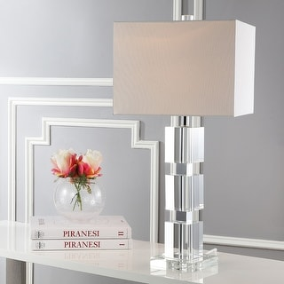 """Link to Safavieh Lighting 28-inch Palace Crystal Stacked Cube Table Lamp - 13""""x13""""x28"""" Similar Items in Lamp Sets"""