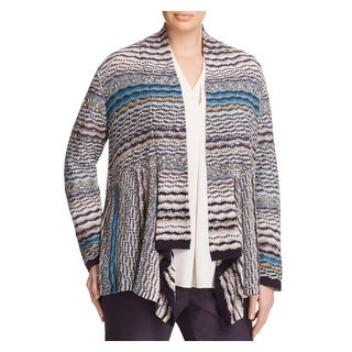 Nic + Zoe Womens Plus Cardigan Sweater Striped Asymmetric