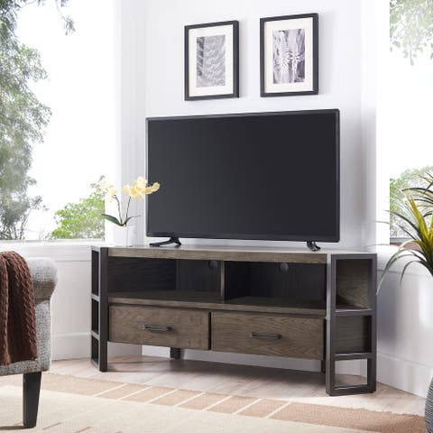 Leick Home 84389 Ender Mixed Metal and Wood Corner TV Stand