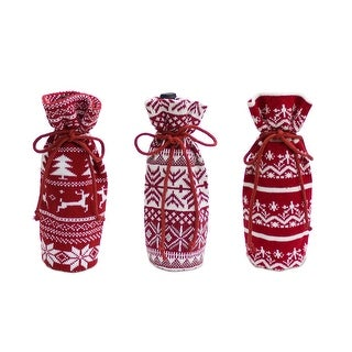 Pack of 9 Red and White Geometric Patterned Wine Bags with Drawstring 12