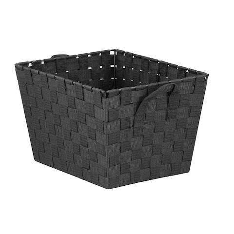 Home Basics Black Medium Polyester Woven Strap Open Bin