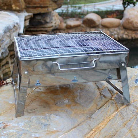 The Your Choice Portable Folding Charcoal Stainless-steel BBQ Grill for Camping, Grilling, Tailgating. 16 Inch, Chrome - Silver