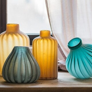 G Home Collection Rustic Hand Blown Frosted Art Glass Vase