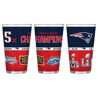 New England Patriots 16oz. 5-Time Super Bowl Champions Sublimated Pint Glass