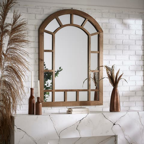 Silas Wood Arched Windowpane Wall Mirror by iNSPIRE Q Artisan - Wall Mirror