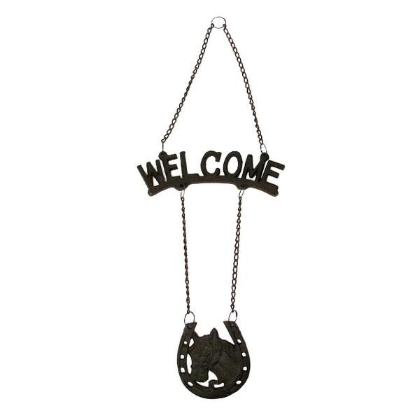 Cast Iron Welcome HorseHorseshoe Sign