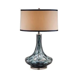 "Lamp Works 8011 Glass 1 Light 28"" Tall Table Lamp with Tan Fabric Shade With Brown Trim - Blue"