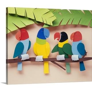 Premium Thick-Wrap Canvas entitled Parrots on a branch