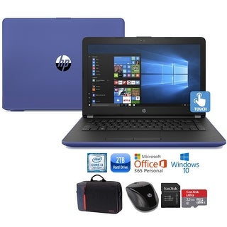 "HP 15 Core i3-7100 2TB HDD 15.6"" HD Touch Screen Laptop Bundle with Office 365 - Marine Blue"