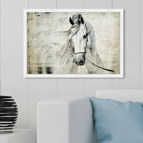 Oliver Gal 'Antiqus Equus' Animals Wall Art Framed Print Farm Animals - Gray, Brown