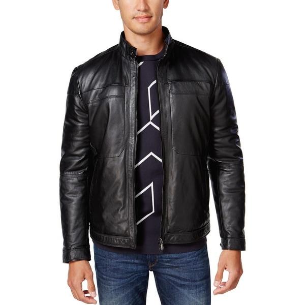 a1f2cd0e5 Hugo Boss Green Jordes Genuine Lamb Leather Jacket Black 38 Regular 38R