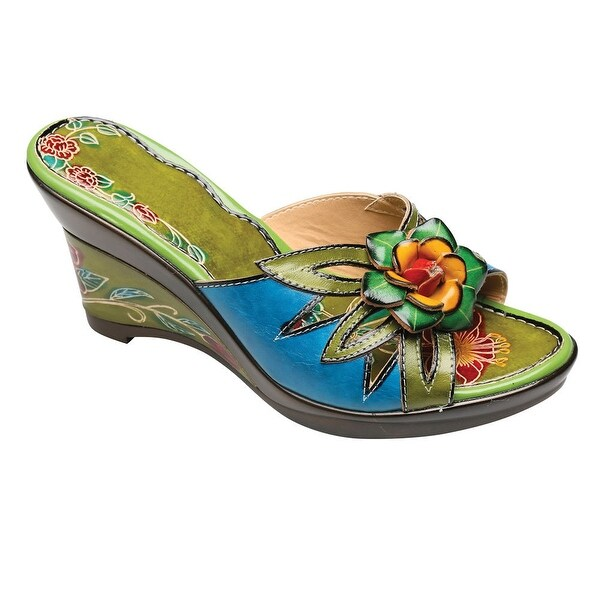 Women's Palau Sandals Hand Painted Leather Uppers Wedge Heel