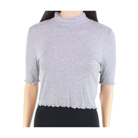 Moa Moa Women's Crop Top Heather Gray Size Small S Scallop Trim Mock Neck