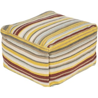 "12"" Multi Colored Striped Square Wool Pouf Ottoman"