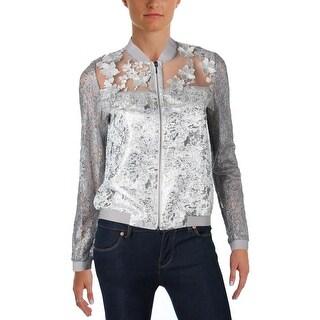 T Tahari Womens Fatima Bomber Jacket Lace Metallic