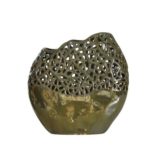 "StyleCraft SC-DA13871 11 7/8"" x 11"" Lacework Ceramic Vase - Metallic Sage Green Glaze"