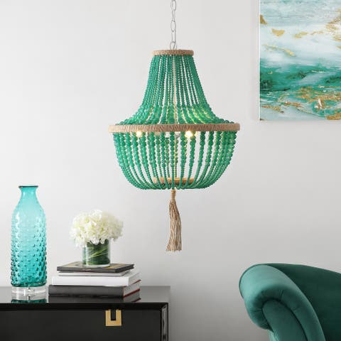 "SAFAVIEH Lighting Lush Kristi 3 Light 16.5--inch Dia Emerald Beaded Pendant - 16.5"" x 16.5"" x 111.75"""