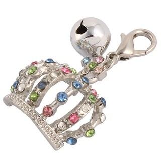 Rhinestone Mosaic Dog Ornament Bell Decor Clasp Crown Charm Pendent Sliver Tone