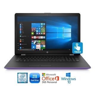"""HP 17-bs008cy Core i3-7100 2TB HDD 17.3"""" HD+ Touch Screen MS Office 365 Laptop - Purple"""