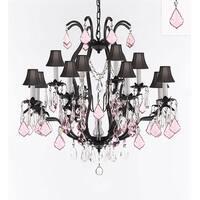 Swarovski Crystal Trimmed Iron Chandelier With Pink Crystals & Black Shades