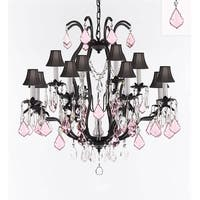 Wrought Iron Crystal Chandelier With Pink Crystals & Black Shades