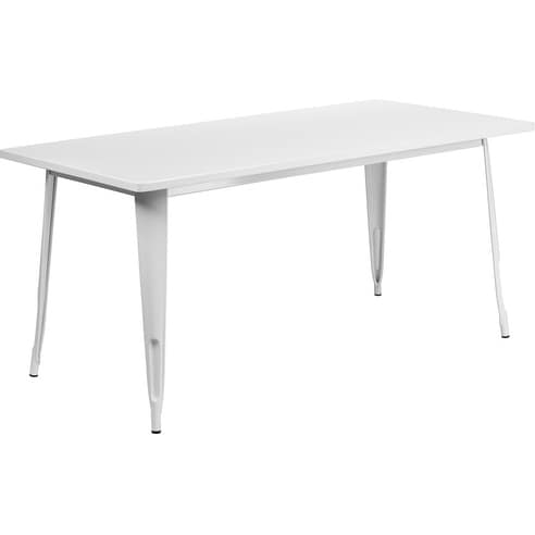 Kendrick Rectangular 31.5'' x 63'' White Metal Table for Indoor/Outdoor/Patio/Bar/Restaurant