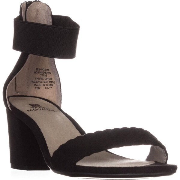 White Mountain Eryn Ankle Strap Sandals, Black