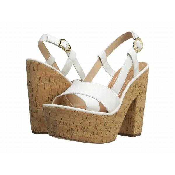 Diane von Furstenberg NEW White Shoes 9M Platform Wedges Leather Heels