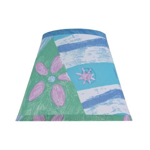 "Aspen Creative Hardback Empire Shape Spider Construction Lamp Shade with Beach Theme in Blue & Green (5"" x 9"" x 7"")"