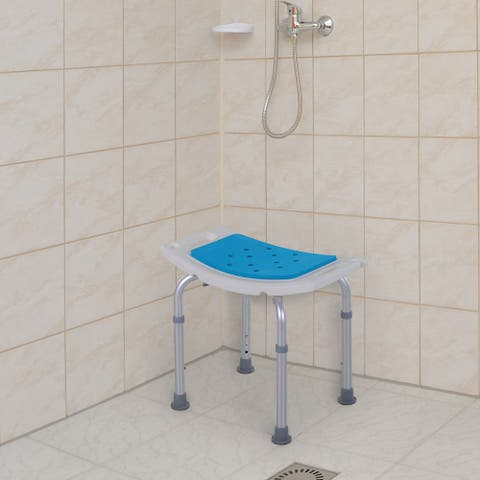 Homcom 6-Level Adjustable Curved Bath Stool Spa Shower Chair Non-Slip Design for the Elderly, Injured, & Pregnant Women