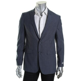 DKNY Mens Wool Checkered Two-Button Blazer