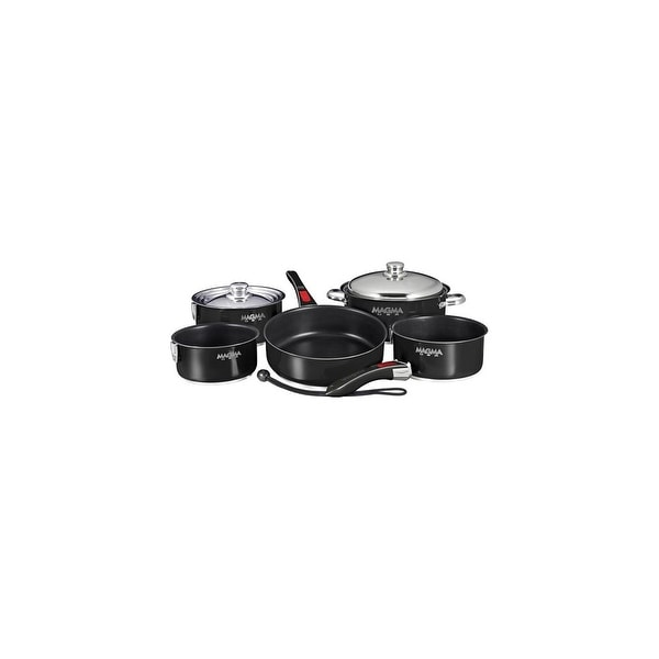 Magma Nesting 10-Piece Induction Compatible Cookware - Slate Black Ceramica Non-Stick Interior - Jet Black Exterior Nesting