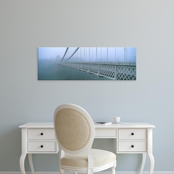Easy Art Prints Panoramic Image 'Fog covered bridge, Clifton Suspension Bridge, Bristol, England' Canvas Art