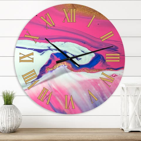 Designart 'Fuchia Marble Landscape With A Touch of White' Modern wall clock