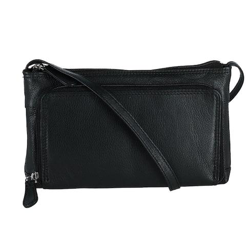 CTM® Women's Leather Organizer Crossbody Handbag