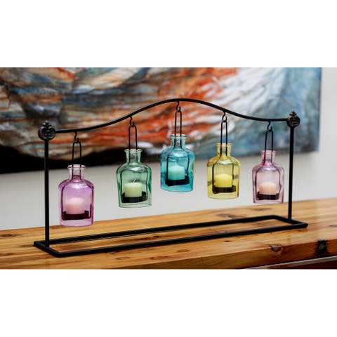 The Curated Nomad Lotta Metal and Glass Votive Candle Holder