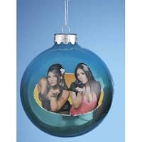 "Blue Jersey Shore Snooki and Deena Glass Ball Christmas Ornament 4"" (100mm)"