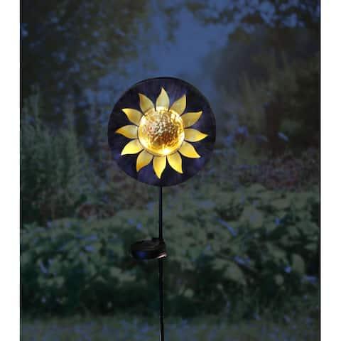 Alpine Corporation Multicolored Metal Solar Sun Garden Stake with LED Lights -TM