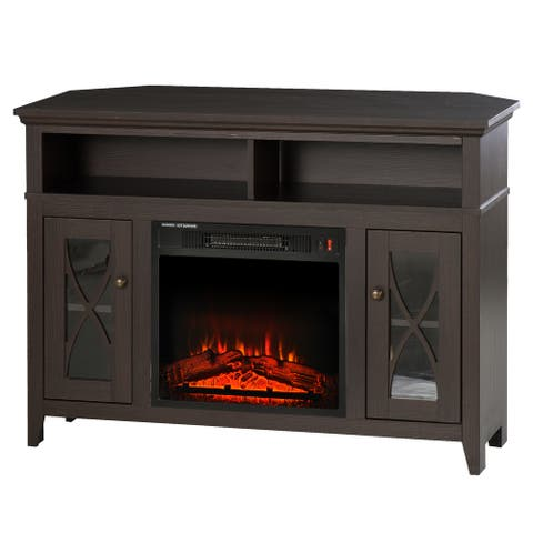 HOMCOM 2-IN-1 Wood Corner TV Stand with Media Center Console and Electric Fireplace, LED Log Flame, Fits 65'' TV