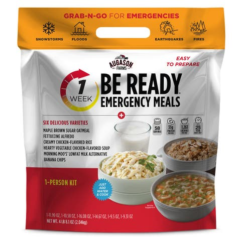 Augason Farms BE READY 1-Week 1-Person Emergency Food Supply, Survival Food - White