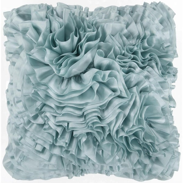 "22"" Seafoam Blue Ruffled Elegance Chevron Decorative Throw Pillow - Down Filler"