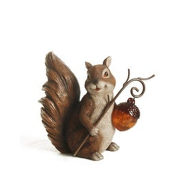 "9.5"" Brown Squirrel With An Acorn Solar Lighted Outdoor Garden Patio Statue"