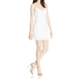Jump NEW White Size 1/2 Juniors V-Neck Chemical Lace Sheath Dress