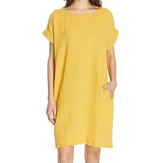 Eileen Fisher Women's Dress Marigold Yellow Size XS Crinkle Shift