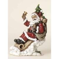 "8.5"" Joseph's Studio Sledding Santa Claus Glitter Drenched Christmas Figure - multi"