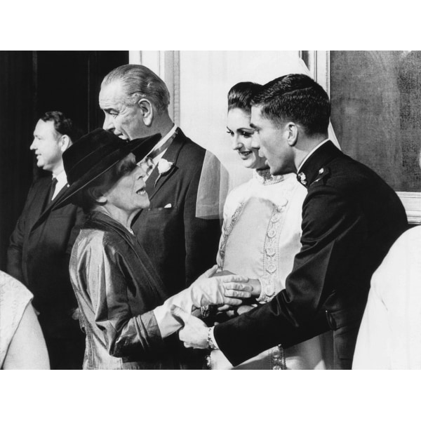 Alice Roosevelt Longworth With Capt Charles Robb And Lynda Johnson At Their White House Wedding Dec