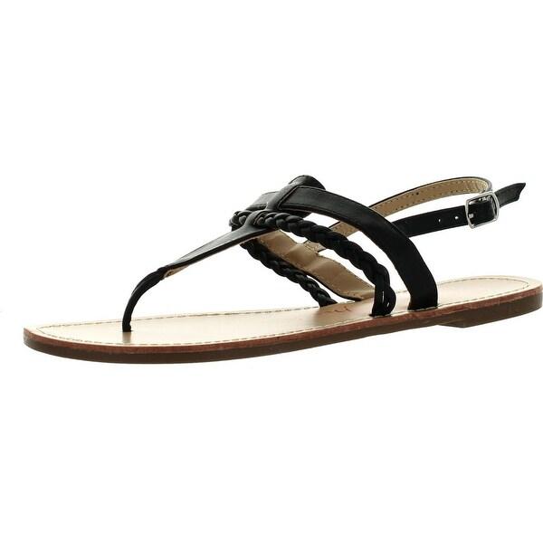 Bellamarie Basic-1 Women Slingback T-Strap Braid Flat Gladiator Thong Sandal
