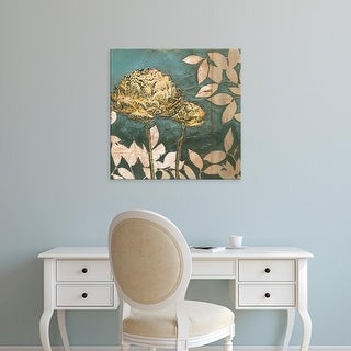 Easy Art Prints Megan Meagher's 'Peony on Blue I' Premium Canvas Art