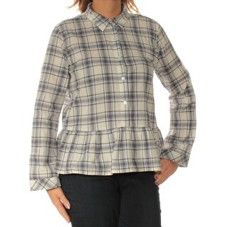 BUFFALO $79 Womens New 1503 Gray Plaid Collared Long Sleeve Casual Top L B+B