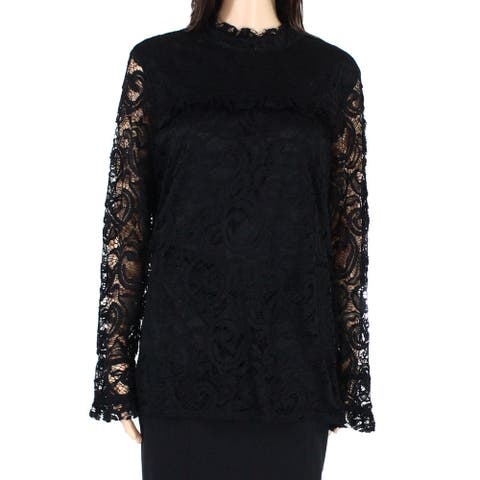AGB Womens Blouse Black Size XL Guipere Lace Mock-Neck Ruffle Frill-Trim